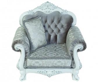 Кресло барокко Илона, белый серебро