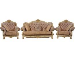 Комплект мягкой мебели Илона крем (ткань золото)