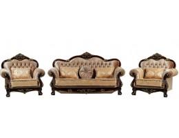 Комплект мягкой мебели Илона орех (ткань золото)