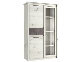 Шкаф с витриной широкий 1V2D1S Бьёрк, ольха полярная/оникс