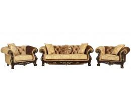 Комплект мягкой мебели Ассоль, орех (ткань золото)