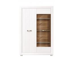 Шкаф-витрина B136-REG2W1D MALTA, лиственница сибирская/орех лион