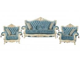 Комплект мягкой мебели Эсмеральда, крем (ткань бирюза)