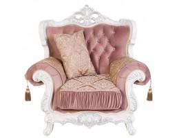Кресло Эсмеральда, белый (ткань пудра)