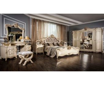 Спальня Джоконда с 4х дверным шкафом (крем глянец)