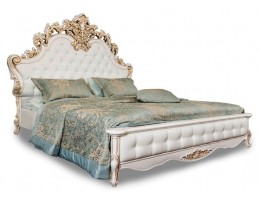 Кровать двуспальная с мягким изголовьем Флоренция, белая