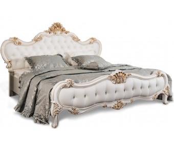 Кровать двуспальная с мягким изголовьем Натали, белая