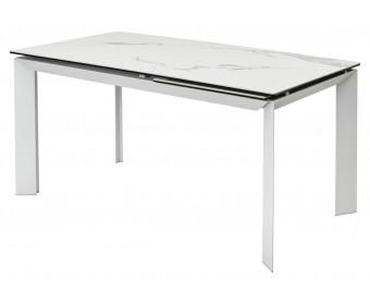 Стол CREMONA 160 HIGH GLOSS STATUARIO Белый мрамор глянцевый, керамика/ белый каркас