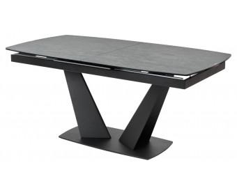 Стол ACUTO2 170 DARK CEMENT Тёмно-серый мрамор матовый, керамика/ черный каркас  NEW!