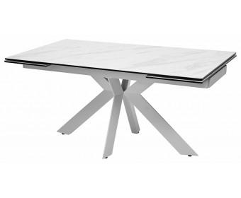 Стол BELLUNO 160 MARBLES KL-99 Белый мрамор матовый, итальянская керамика/ белый каркас