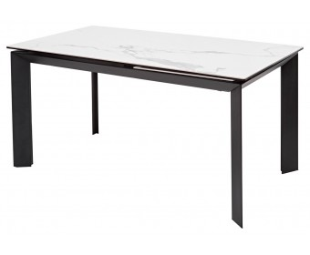 Стол CREMONA 160 HIGH GLOSS STATUARIO Белый мрамор глянцевый, керамика/ черный каркас