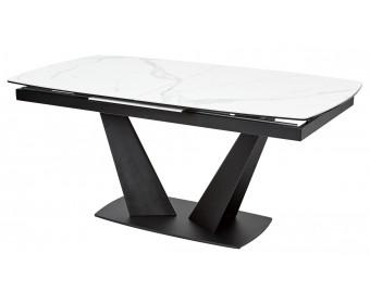 Стол ACUTO2 170 MATTE STATUARIO Белый мрамор матовый, керамика/ черный каркас